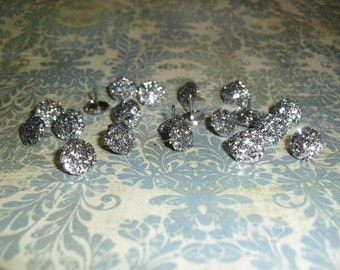 Silver Glitter Push Pin Thumb Tacks Set