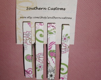Clothespin Magnets Flower Print, Pink, Green, Black, and White, Set of four, SALE