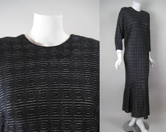 70s/ 80s David Brown Dress Caftan Black Soft Cotton Metallic Silver Vintage Doleman Cocoon Fishtail Flounce Hem Hostess Gown Lounging Robe