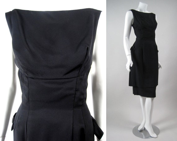 Vintage 1960's BLACK COCKTAIL DRESS by Mardi Gras Crepe Unusual Double Skirt Fitted Bodice Bows New York