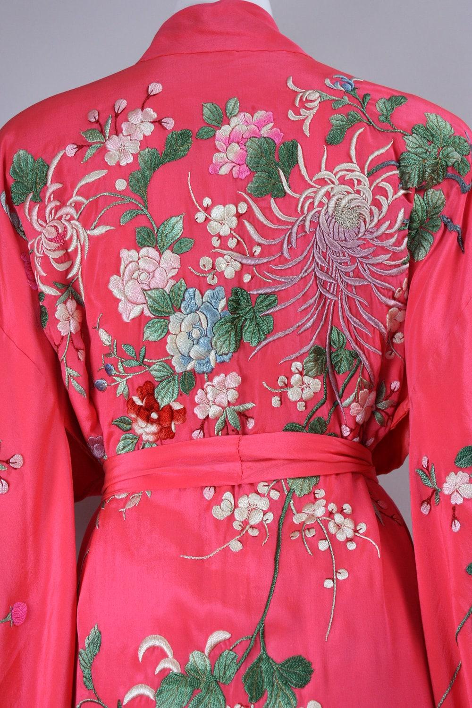 1930s Japanese Kimono Robe Hand Embroidered Flowers Silk Japan