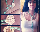 Crochet jewelry- Women or girls' flower & leaf adjustble crochet necklace. Sea green and beige. Holiday or everyday.