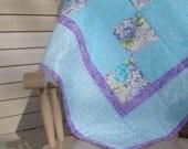 SALE - Hearts & Hydrangeas Baby Quilt
