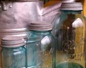 Set of three Blue Perfect Mason Ball Jars