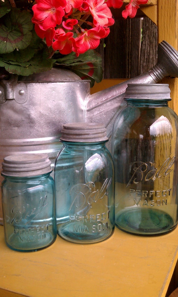 Set of three Blue Perfect Mason Ball Jars