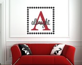 Square Dot Vinyl Wall Art Decal Monogram with Initial and Name - Red And Black