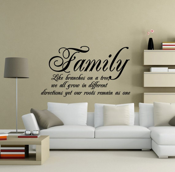 Items similar to Family Roots Quote Vinyl Wall Art Decal - Black on Etsy