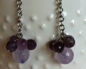 Stainless Steel Nickel Free Natural Amethyst Earrings FREE SHIPPING