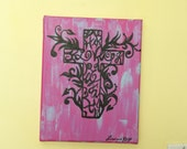 Acrylic Hand Painted Cross/ Faith/ Hope/ Love, Pink and blue 8 X10