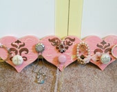 Jewelry Display, Heart Shaped Pink and Brown Distressed, Crackle Paint, Drawer Knobs and Hooks