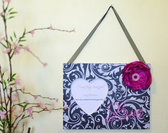 Heart Picture Frame, Black and white Damask With Pink Satin Flower, Love