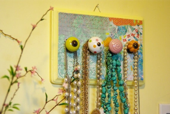 Jewelry Display, Bright colors, Yellow and teal, Summery Necklace Holder