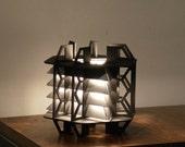 TriHex Table Lamp - geometric wood sculpture accent lighting