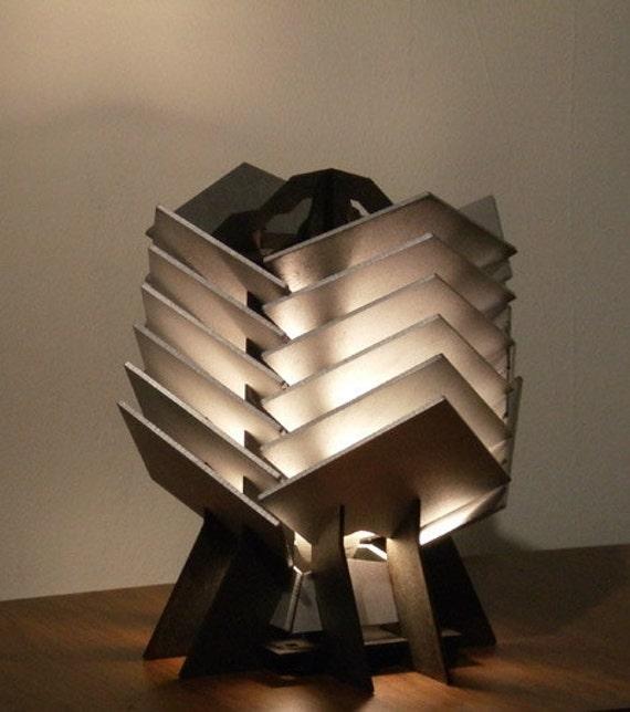 Crassula Table Lamp - geometric wood sculpture accent lighting