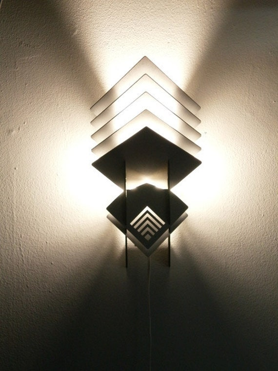 C-Sconce Wall Mounted Lamp (black/silver) - geometric wood sculpture accent lighting