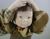 Art Doll OOAK Ningyo Child Brothers made from Vintage Quality Japanese Silk Fabrics