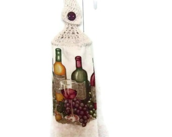 Clearance - Hanging towel - Wine Bottles - Grapes - Wine glasses - Crochet Top - Button Towel