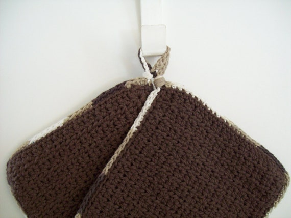 Potholders Set - Brown - Crocheted Cotton