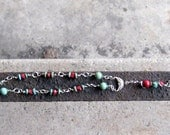 One Decade Rosary - Turquoise Heishi and Rounds with 5mm red coral, Silver Plate wire wrapped links and Pewter Cross