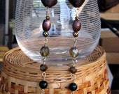 Earrings that are most definitely dusters - in Citrine, Green Sunstone, Brass