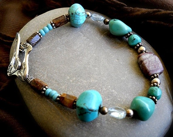 Bracelet with a Southwestern feel/look and a funky toggle clasp