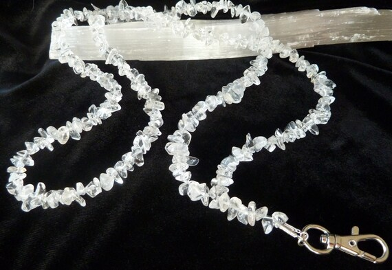 Clear Quartz Crystal Gemstone Chip Bead Lanyard