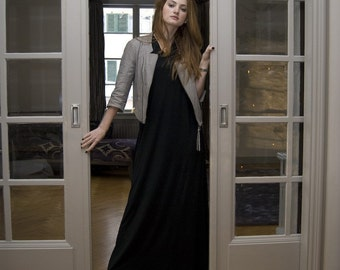 Black jersey t-shirt maxi dress. Winter dress. Short or long sleeves. Jersey dress. Custom dress
