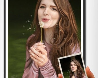 Custom portrait painting in realistic for birthday gift, present, girlfriend