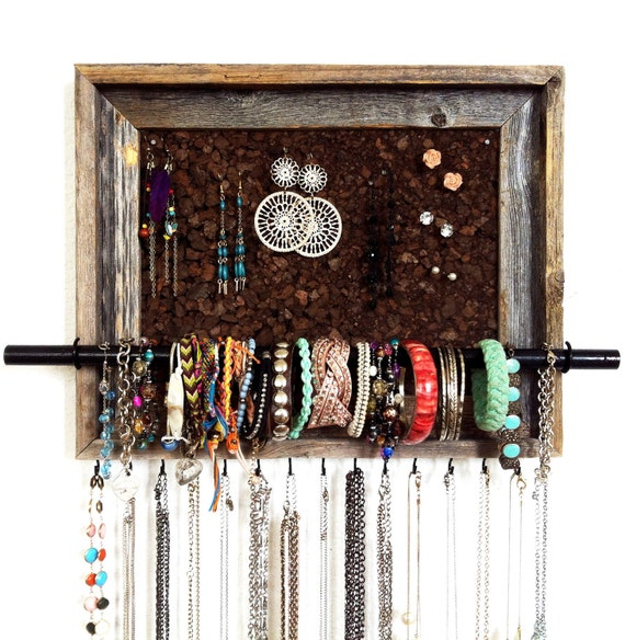 "12 1/2"" x 15 1/2"" Custom Barn Wood Jewelry Organizer"