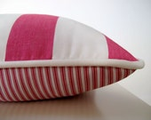 Cushion cover, pink and white thick stripe, pick ticking back & white piping,  other colours available, 45cm x 45cm, FREE DELIVERY