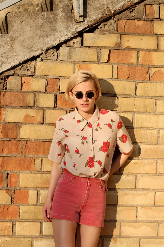 Vintage camel shirt with red roses