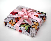 Fabric Gift Wrap, Butterflies Reusable Gift Wrap with Pink Ribbon