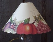 PRIMITIVE  DECORATIVE  PAINTED Fruit Lampshade with Scalloped Edges