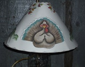 "12""  DECORATIVE Tole PAINTED Thanksgiving Lampshade with Scalloped Edges"