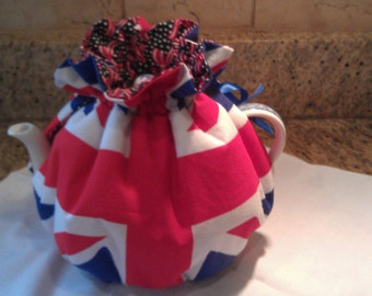 Tea Cozy, Union Jack pattern  with reversible Stars and Stripes.  Celebrate Queen's Jubilee and London Olympics