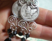 Dime Earrings, Upcycled 1936 Mercury Dimes, Sard Onyx and Old Swarovski Destash, Relationships, Protection