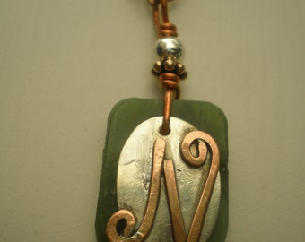 Letter N, Alphabet Letter Pendant, Copper over Sterling Silver Initial Charm Pendants, Made to Order