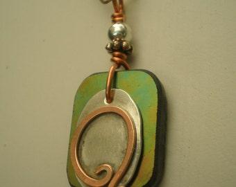 Letter Q, Alphabet Letter Pendant, Copper over Sterling Silver Initial Charm Pendants, Made to Order