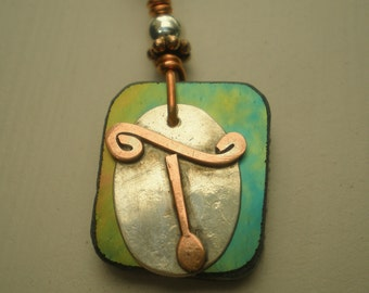 Letter T, Alphabet Letter Pendant, Copper over Sterling Silver Initial Charm Pendants, Made to Order