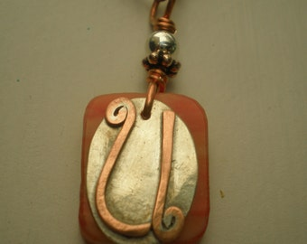 Letter U, Alphabet Letter Pendant, Copper over Sterling Silver Initial Charm Pendants, Made to Order