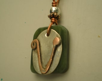 Letter V, Alphabet Letter Pendant, Copper over Sterling Silver Initial Charm Pendants, Made to Order