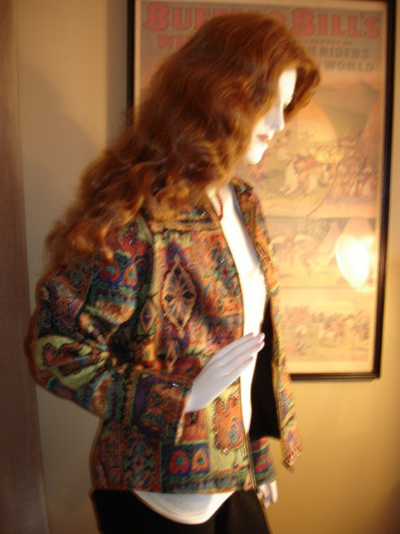 Vintage Parsley & Sage Thick Colourfull Tapestry With Beads Blazer Jacket Size12