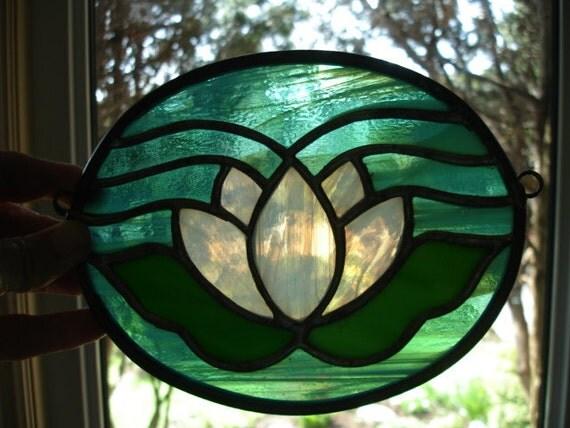 Lotus Flower, Lilly Pad, Stained Glass Art, Suncatcher - Aqua Greens