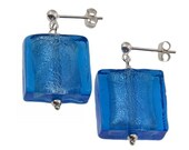London Blue Earrings Genuine Italian Murano Glass Large Sterling Silver Foil Square & Sterling Silver Stud Posts by SilverLily Jewellery