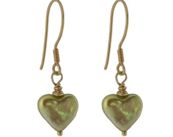 18k Gold Cultured Pearl Heart Earrings in Golden Green Fully Sterling Silver 18ct Vermeil on French Wires UK Delivery is Free