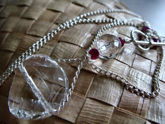 Tanzanian Rubies Necklace Gemstone AA Rock Crystal Quartz Sterling Silver Toggle Clasp Large Crystal Pendant & Curb Chain