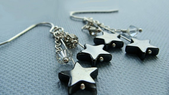 Sterling Silver Drop Earrings Glossy Black Gemstone Hematite Stars White Swarovski Crystals & Strong Quality Sterling Silver French Wires