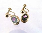 Avon Rose Dangle Earrings, Vintage Avon Earrings, Screw Back Gold Tone Earrings