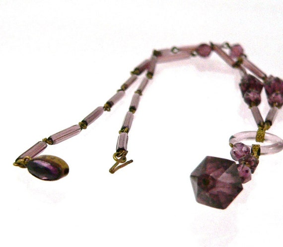 Reserved until September 2,  Antique Czech Amethyst Glass Necklace,  Signed