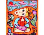 Woman Print, Mixed Media Art, Girls Room Decor, Art For Girls,  Hippie Art Print,  8 x10 by Paula DiLeo